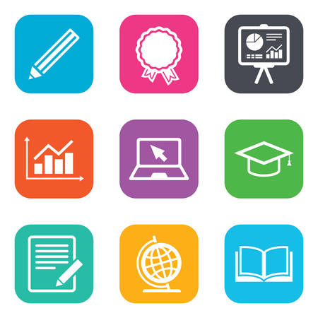 study icon: Education and study icon. Presentation signs. Report, analysis and award medal symbols. Flat square buttons. Vector Vectores