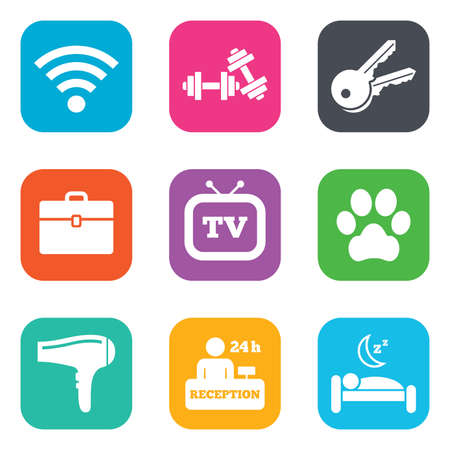 Hotel, apartment service icons. Wi-fi internet. Reception, pets allowed and hairdryer symbols. Flat square buttons. Vector