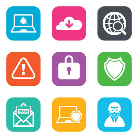 cyber attack: Internet privacy icons. Cyber crime signs. Virus, spam e-mail and anonymous user symbols. Flat square buttons. Vector Illustration