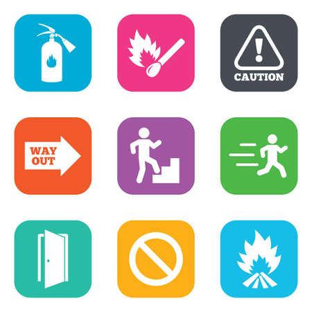 burn out: Fire safety, emergency icons. Fire extinguisher, exit and attention signs. Caution, water drop and way out symbols. Flat square buttons. Vector
