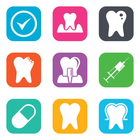 dental caries: Tooth, dental care icons. Stomatology, syringe and implant signs. Healthy teeth, caries and pills symbols. Flat square buttons. Vector