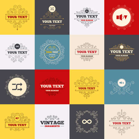 shuffle: Vintage frames, labels. Player control icons. Sound louder and quieter signs. Dynamic symbol. Shuffle random and repeat loop. Scroll elements. Vector Illustration