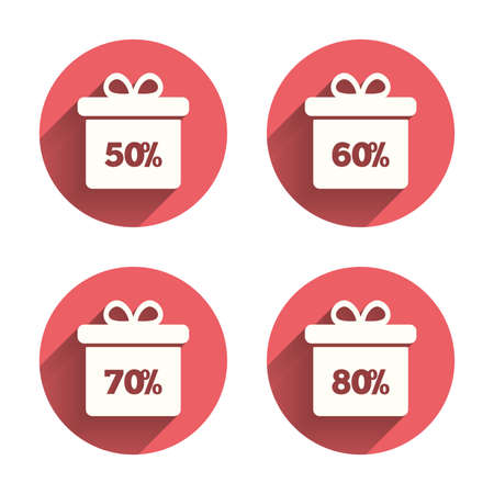 50 to 60: Sale gift box tag icons. Discount special offer symbols. 50%, 60%, 70% and 80% percent discount signs. Pink circles flat buttons with shadow. Vector