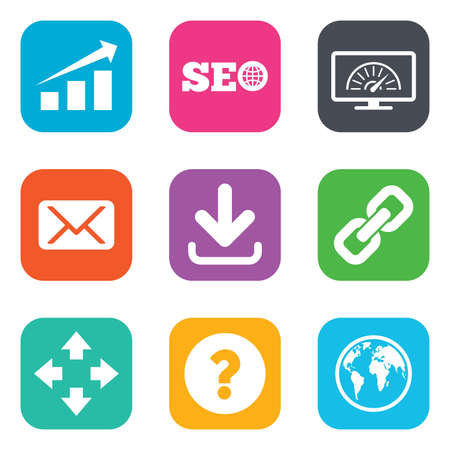 bandwidth: Internet, seo icons. Bandwidth speed, download arrow and mail signs. Hyperlink, monitoring symbols. Flat square buttons. Vector