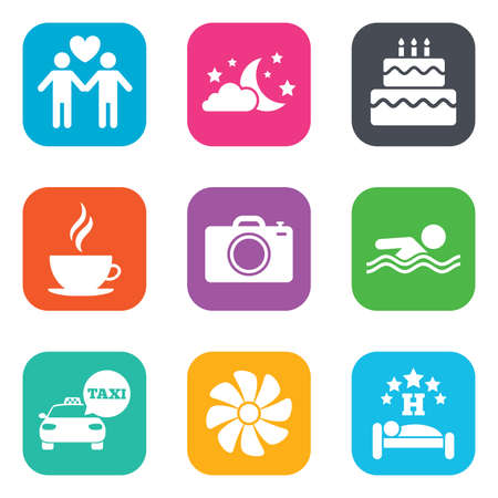 sleeping car: Hotel, apartment service icons. Swimming pool. Ventilation, birthday party and gay-friendly symbols. Flat square buttons. Vector Illustration