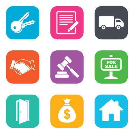 car for sale: Real estate, auction icons. Handshake, for sale and money bag signs. Keys, delivery truck and door symbols. Flat square buttons. Vector