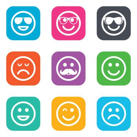 Icônes Lol SourireHeureuxTriste Fait De Rire SignesLunettes D'oeil Des SoleilMoustache Symboles Clin Face SmileyAppartement Et À MSUzpV