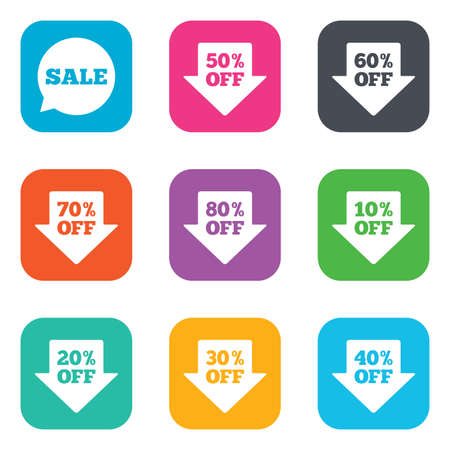 ten best: Sale discounts icons. Special offer signs. Shopping price tag symbols. Flat square buttons. Vector