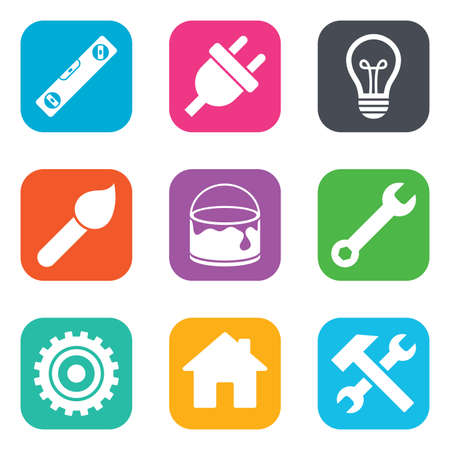 construction icons: Repair, construction icons. Hammer, wrench tool and cogwheel signs. Electric plug, lamp and house symbols. Flat square buttons. Vector Illustration