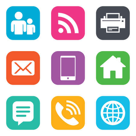 phone icon: Contact, mail icons. Communication signs. E-mail, chat message and phone call symbols. Flat square buttons. Vector