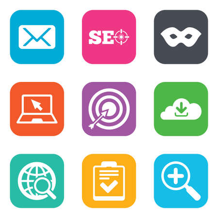 checklist: Internet, seo icons. Checklist, target and mail signs. Mask, download cloud and magnifier symbols. Flat square buttons. Vector