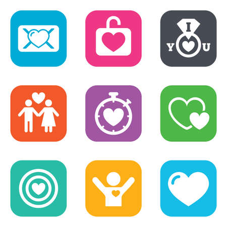 Love, valentine day icons. Target with heart, oath letter and locker symbols. Couple lovers, boyfriend signs. Flat square buttons. Vector Illustration