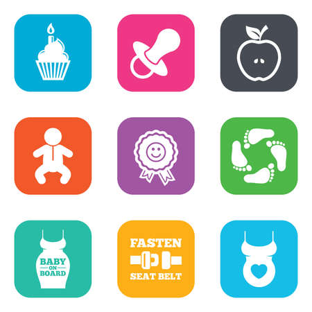 newborn footprint: Pregnancy, maternity and baby care icons. Apple, award and pacifier signs. Footprint, birthday cake and newborn symbols. Flat square buttons. Vector