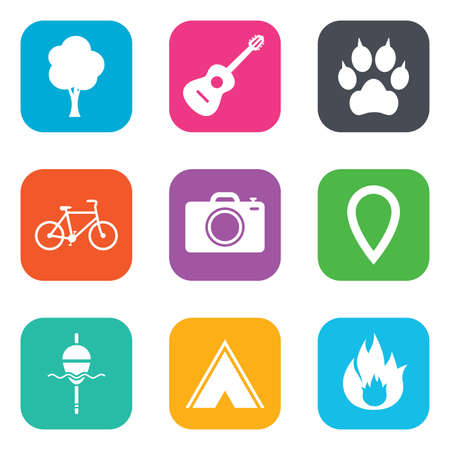 Tourism, camping icons. Fishing, fire and bike signs. Guitar music, photo camera and paw with clutches. Flat square buttons. Vector