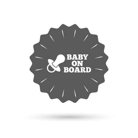 bebe a bordo: Vintage emblem medal. Baby on board sign icon. Infant in car caution symbol. Baby pacifier nipple. Classic flat icon. Vector