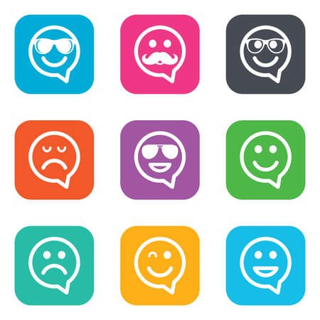 sorrowful: Smile speech bubbles icons. Happy, sad and wink faces signs. Sunglasses, mustache and laughing lol smiley symbols. Flat square buttons. Vector Illustration