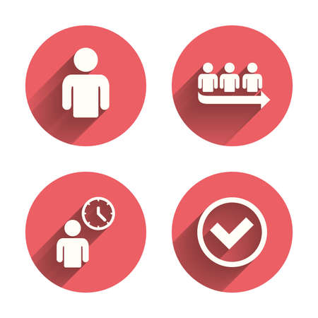 Queue icon. Person waiting sign. Check or Tick and time clock symbols. Pink circles flat buttons with shadow. Vector