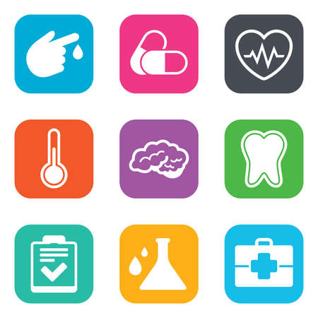 neurology: Medicine, healthcare and diagnosis icons. Tooth, pills and doctor case signs. Neurology, blood test symbols. Flat square buttons. Vector Illustration