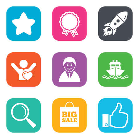 award: Online shopping, e-commerce and business icons. Start up, award and customers like signs. Big sale, shipment and favorite symbols. Flat square buttons. Vector Illustration