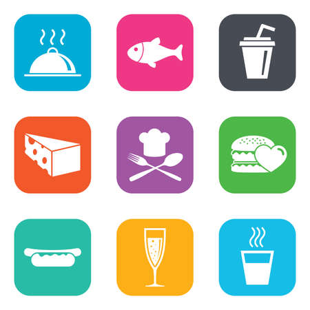 hot drinks: Food, drink icons. Alcohol, fish and burger signs. Hot dog, cheese and restaurant symbols. Flat square buttons. Vector Illustration