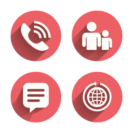 shadow people: Group of people and share icons. Speech bubble and round the world arrow symbols. Communication signs. Pink circles flat buttons with shadow. Vector