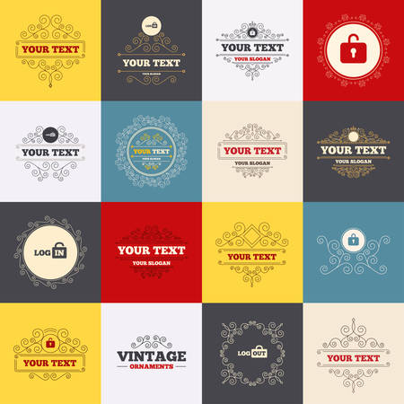 sign out: Vintage frames, labels. Login and Logout icons. Sign in or Sign out symbols. Lock icon. Scroll elements. Vector Illustration