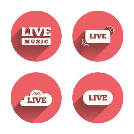 live on air: Live music icons. Karaoke or On air stream symbols. Cloud sign. Pink circles flat buttons with shadow. Vector