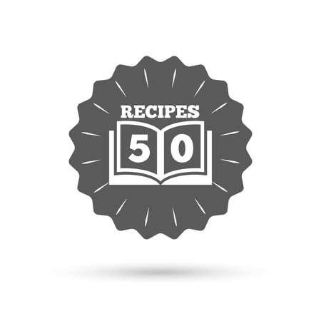 cookbook: Vintage emblem medal. Cookbook sign icon. 50 Recipes book symbol. Classic flat icon. Vector