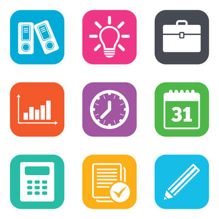 calendar page: Office, documents and business icons. Accounting, calculator and case signs. Ideas, calendar and statistics symbols. Flat square buttons. Vector