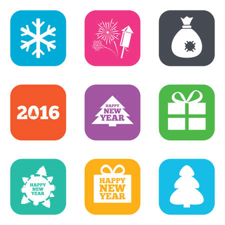 salut: Christmas, new year icons. Gift box, fireworks and snowflake signs. Santa bag, salut and rocket symbols. Flat square buttons. Vector Illustration