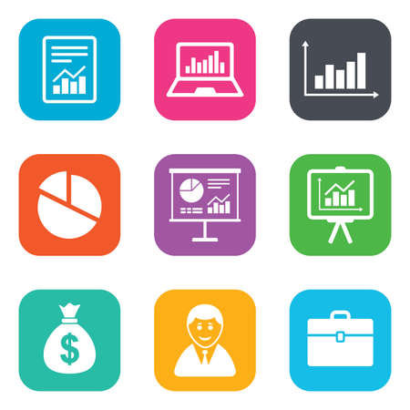 business case: Statistics, accounting icons. Charts, presentation and pie chart signs. Analysis, report and business case symbols. Flat square buttons. Vector