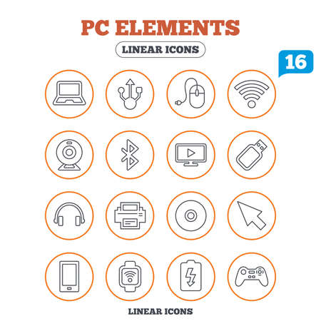 usb port: Computer elements icons. Notebook, usb port and smartphone. Printer, smart watch and game console joystick. Bluetooth, flash stick and cursor pointer. Circle buttons on white. Vector Illustration