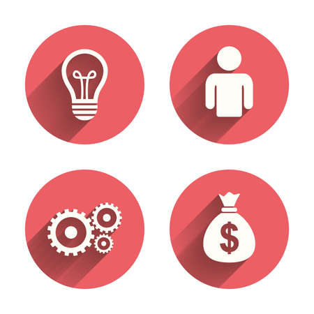 pink lamp: Business icons. Human silhouette and lamp bulb idea signs. Dollar money bag and gear symbols. Pink circles flat buttons with shadow. Vector