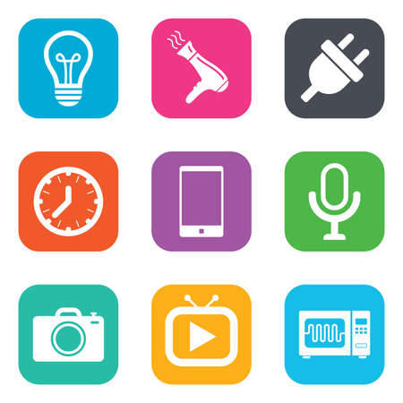 electronic device: Home appliances, device icons. Electronics signs. Lamp, electrical plug and photo camera symbols. Flat square buttons. Vector