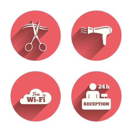Hotel-Dienstleistungen Symbole. Wi-Fi, Fön Im Zimmer Zeichen ...