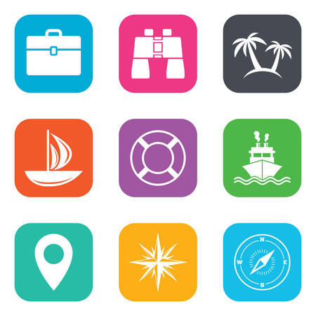 wind rose: Cruise trip, ship and yacht icons. Travel, cocktails and palm trees signs. Sunglasses, windrose and swimming symbols. Flat square buttons. Vector