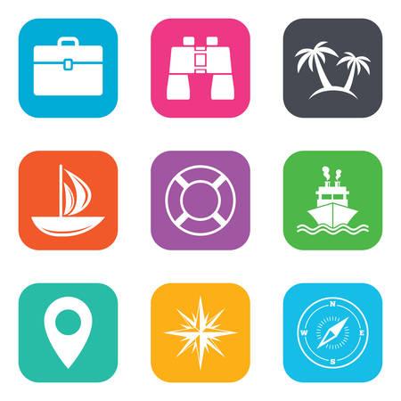 rosa dei venti: viaggio in crociera, navi e yacht icone. Viaggi, cocktail e palme segni. Occhiali da sole, Windrose e nuoto simboli. Piatte pulsanti quadrati. Vettore