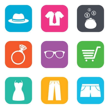 t square: Clothes, accessories icons. Shirt, glasses and hat signs. Wallet with cash coins symbols. Flat square buttons. Vector
