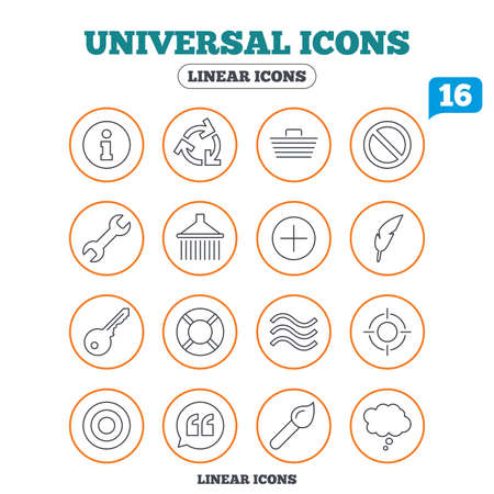 rubbish cart: Universal icons. Information, shopping basket and shower. Repair tool, home key and brush. Comic speech bubble, target aim and quotes. Circle buttons on white. Vector Illustration