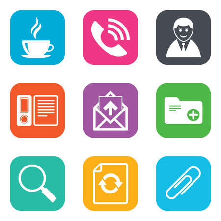 office documents: Office, documents and business icons. Coffee, phone call and businessman signs. Safety pin, magnifier and mail symbols. Flat square buttons. Vector Illustration