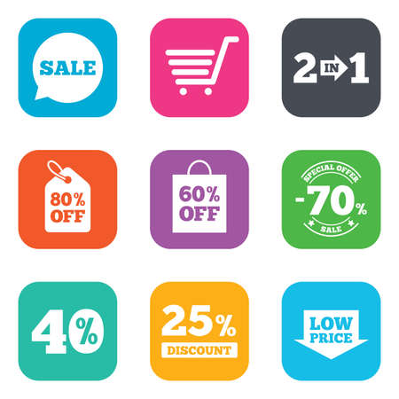 low price: Sale discounts icon. Shopping cart, coupon and low price signs. 25, 40 and 60 percent off. Special offer symbols. Flat square buttons. Vector Stock Illustratie