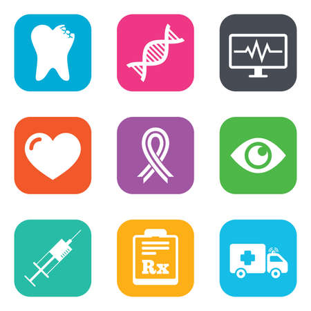 awareness ribbon: Medicine, healthcare and diagnosis icons. Tooth, syringe and ambulance signs. Dna, awareness ribbon symbols. Flat square buttons. Vector Illustration