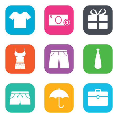 formal shirt: Clothing, accessories icons. T-shirt, business case signs. Umbrella and gift box symbols. Flat square buttons. Vector