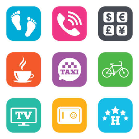 strongbox: Hotel, apartment services icons. Coffee sign. Phone call, kid-friendly and safe strongbox symbols. Flat square buttons. Vector