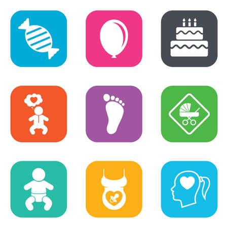 pastel cumpleaños: Iconos del embarazo, la maternidad y el cuidado del bebé. Candy, cochecitos y chupete signos. Huella, torta de cumpleaños y el corazón símbolos. Botones planos cuadrados. Vector