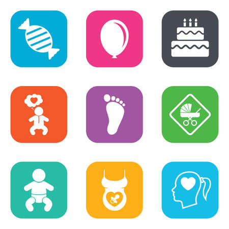 birthday cake: Pregnancy, maternity and baby care icons. Candy, strollers and pacifier signs. Footprint, birthday cake and heart symbols. Flat square buttons. Vector
