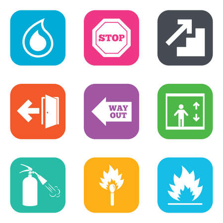 burn out: Fire safety, emergency icons. Fire extinguisher, exit and stop signs. Elevator, water drop and match symbols. Flat square buttons. Vector