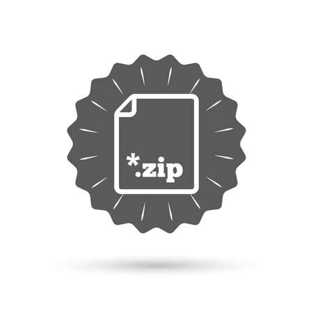 zipped: Vintage emblem medal. Archive file icon. Download compressed file button. ZIP zipped file extension symbol. Classic flat icon. Vector Illustration
