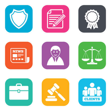 auction: Lawyer, scales of justice icons. Clients, auction hammer and law judge symbols. Newspaper, award and agreement document signs. Flat square buttons. Vector