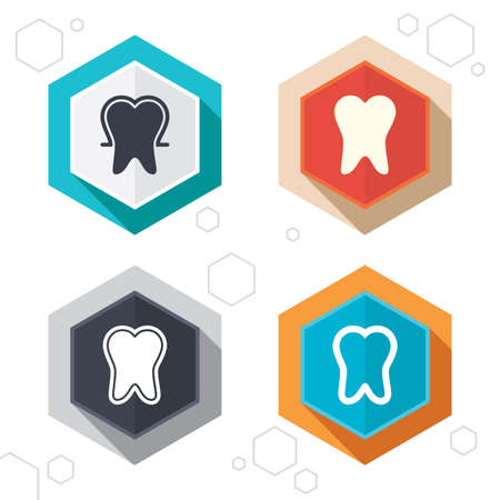 enamel: Hexagon buttons. Tooth enamel protection icons. Dental toothpaste care signs. Healthy teeth sign. Labels with shadow. Vector Illustration